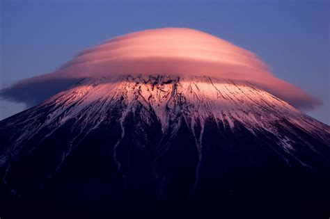 japan fuji mountain haze cloud night blue sky hd wallpaper