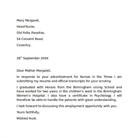 employment cover letter template  samples examples