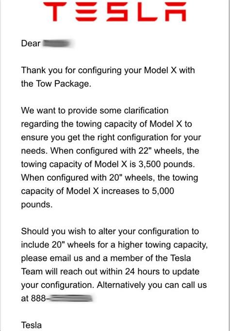 Tesla Letter Tesla Model X Towing Capacity Cut To 3 500 Pounds With 22
