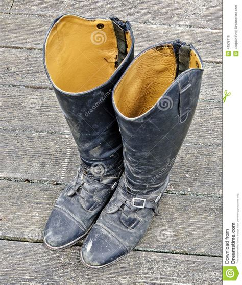 Dirty Black Riding Boots Stock Photo Image 41538716
