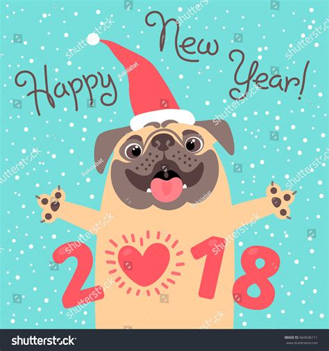 new pug happy 2018 new year card stock vector 664546111