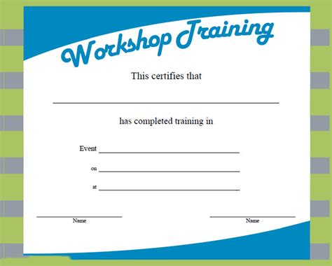 templates for workshop certificates training certificate template 21 free word pdf psd