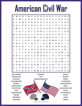 printable word search civil war puzzles to print teaching resources teachers pay teachers