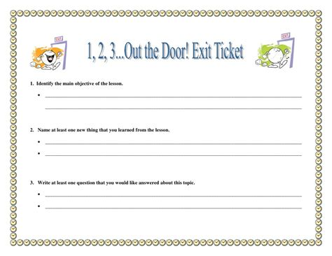 exit ticket template playbestonlinegames