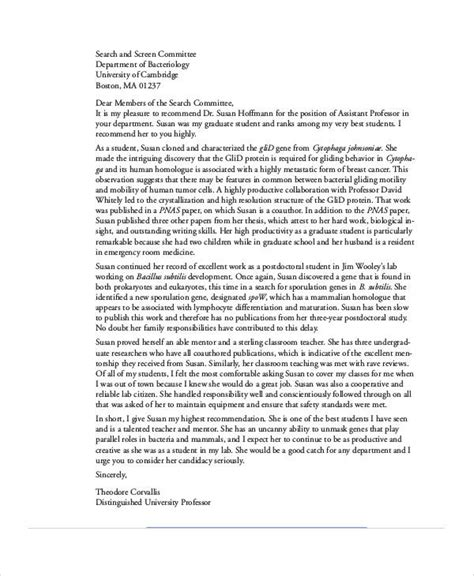 Sle Letter Of Recommendation For Professor Tenure