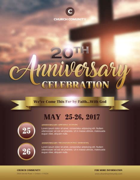 Anniversary Celebration Free Church Flyer Template Download Flyers Free Church Flyer Templates