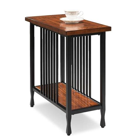 Narrow End Table by Leick Ironcraft Narrow End Table In Burnished Oak 11205
