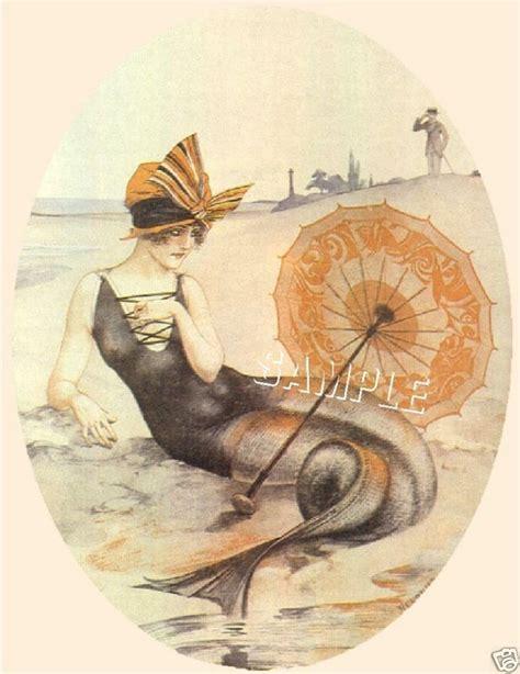 Deco Mermaid L deco mermaid parasol canvas print ebay