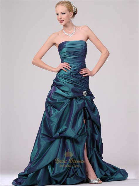 prom dress upskirt teal strapless pick up skirt prom dress with beaded