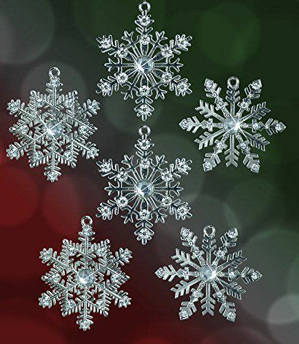 snowflake ornaments silver metal snowflakes with clear
