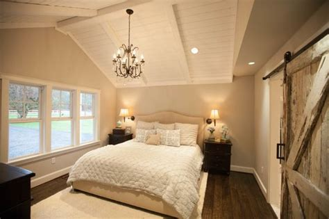 neutral colors master bedrooms and black chandelier on
