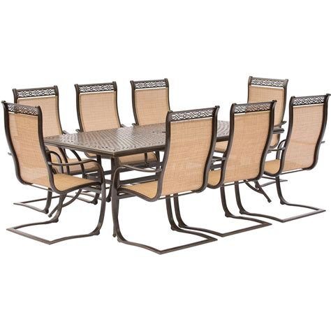 Hanover Manor 9 Piece Aluminum Rectangular Outdoor Dining Aluminum Sling Patio Chairs