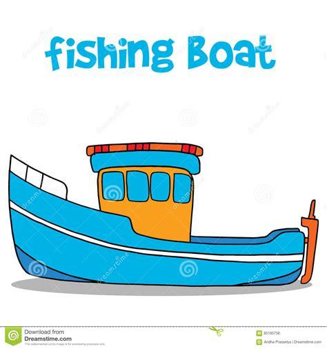 cartoon fishing boat fishing boat cartoon vector art stock vector