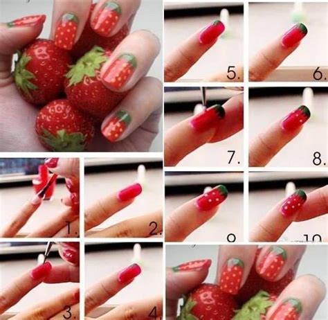 tutorial nail art strawberry diy a chic strawberry nail design beauty life