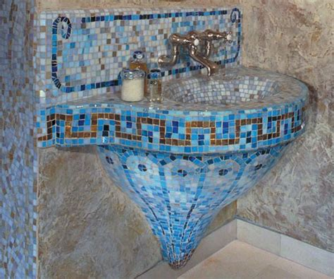 Mosaic Ideas For Bathrooms Beautiful Bathroom Sinks Decorated With Mosaic Tiles