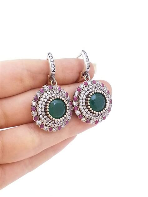 Handmade Turkish Jewelry - turkish jewelry emerald ruby handmade earrings