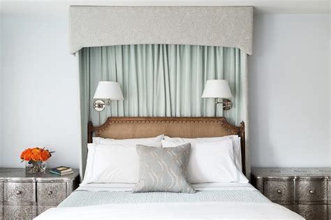 drapes behind headboard green curtains behind headboard transitional bedroom