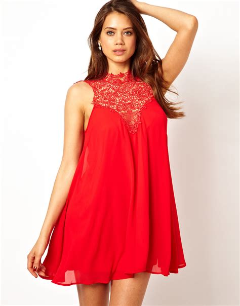 high neck swing dress tfnc london swing dress with lace high neck in red lyst