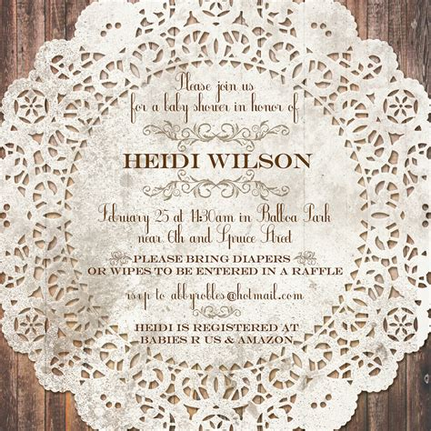 vintage lace baby or bridal shower invitation