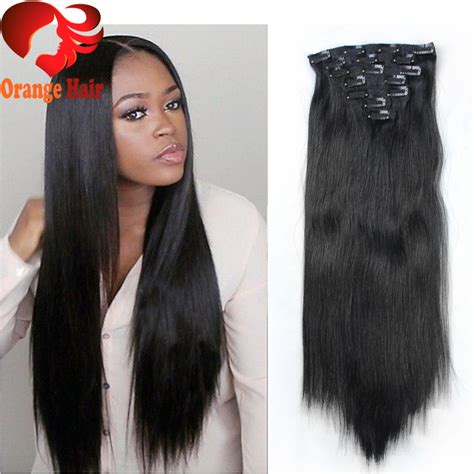 black hairstyles clip extensions cheap silky straight remy human hair clip in extensions