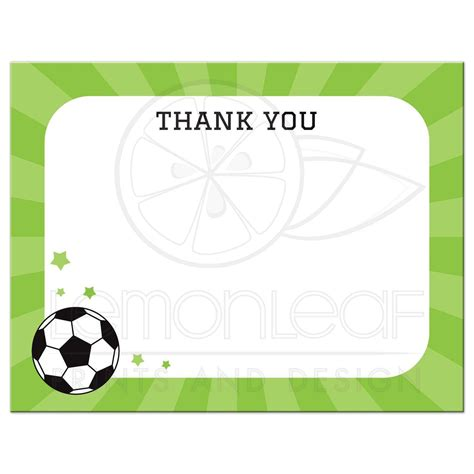 football thank you card template free soccer and flat thank you note card