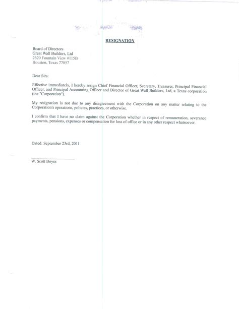 Resignation Letter Format For Finance resignation letter resignation letter sle for