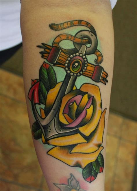 old school yellow rose tattoo cute big old school anchor with yellow rose tattoo on