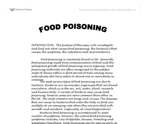 Essay About Food by Food Poisoning Gcse Design Technology Marked By Teachers