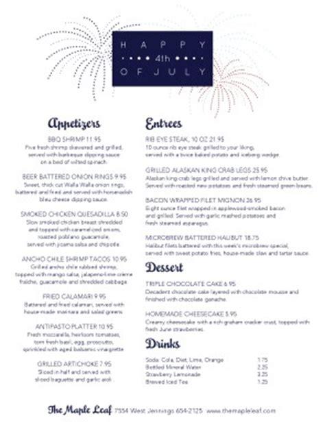 4th of july menu template happy july 4th menu 4th of july menus