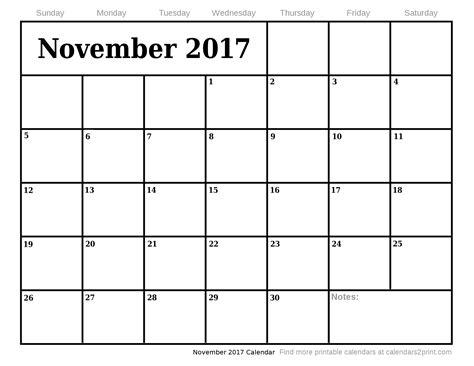 Calendar 2017 Nov November 2017 Printable Calendar