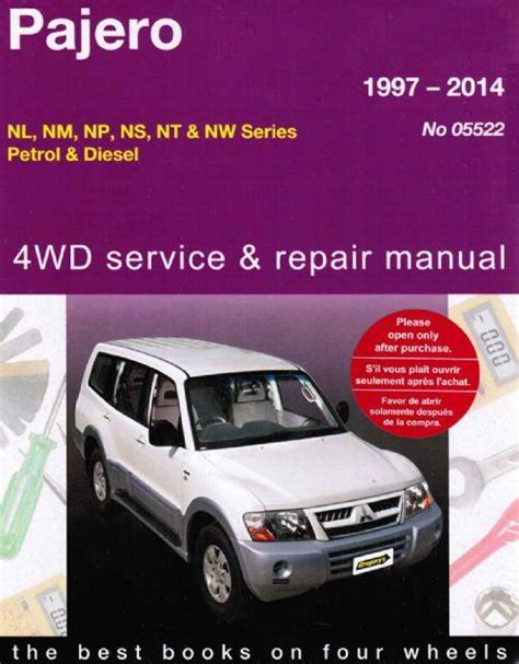 service and repair manuals 1997 mitsubishi pajero auto manual mitsubishi pajero 4wd petrol diesel 1997 2014 gregorys owners service repair manual
