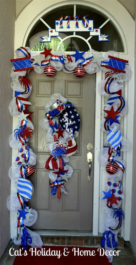 deco decorations deco mesh garland 4th of july door patriotic white blue mantles
