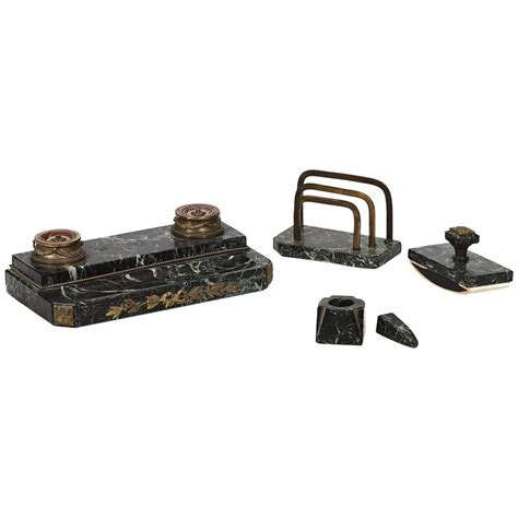 Marble Desk Accessories 19th Century Bronze And Marble Desk Set For Sale At 1stdibs