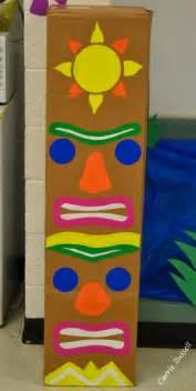 totem pole painted on cardboard box cheap luau