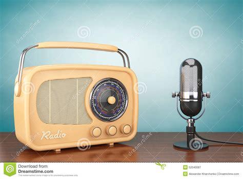 The Radio retro radio and vintage microphone stock image image