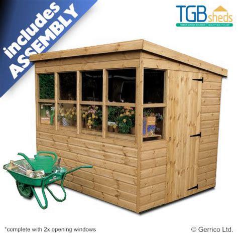 tgb sunflower pent potting shed assembled
