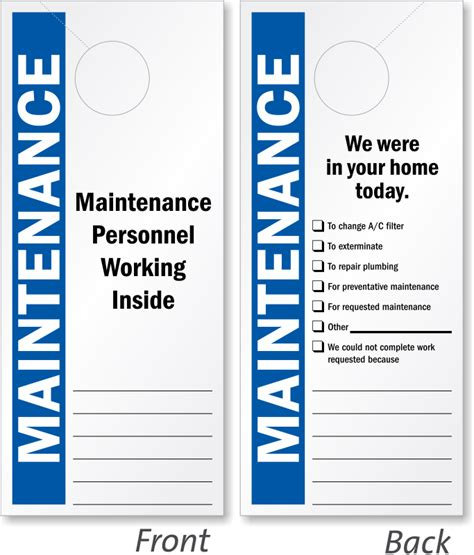 Maintenance Door Hanger Template maintenance door hangers add your name or in stock designs