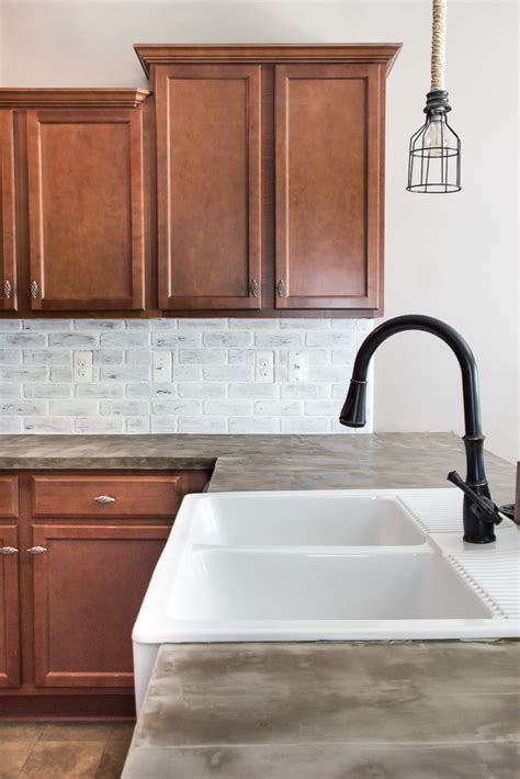 faux brick backsplash in kitchen remodelaholic diy whitewashed faux brick backsplash