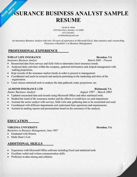 business analyst resume and business on