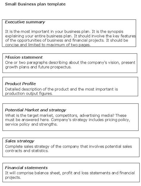 mini business plan format simple small business plan sles google search