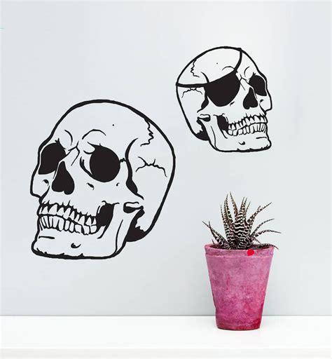 skull wall stickers skull vinyl wall sticker by oakdene designs