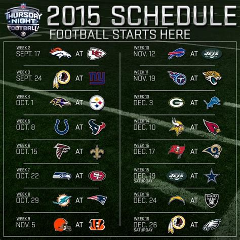 Calendario Nfl 2015 2015 Nfl Thursday Football Television Schedule On