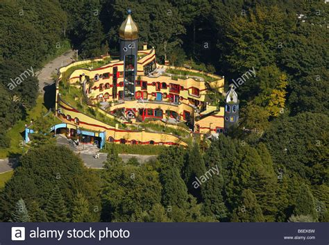 hundertwasser house aerial picture grugapark friedrich hundertwasser house sponsored stock photo