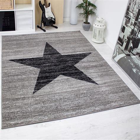 teppich grau schwarz modern wohnzimmer teppich muster in schwarz grau