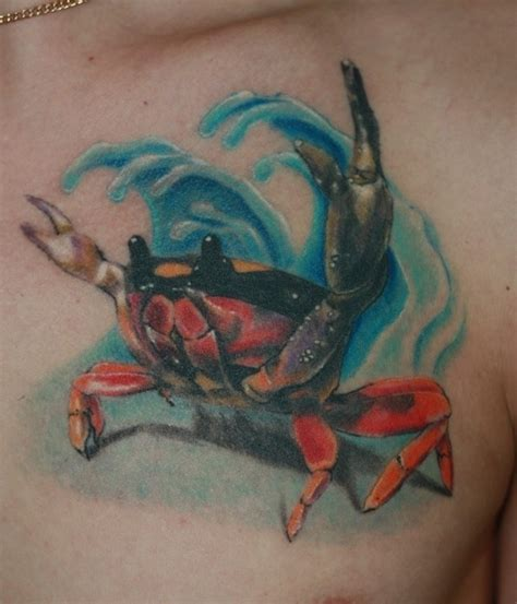 cool crab tattoo for your chest tattooimages biz