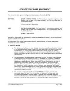 Convertible Loan Agreement Template convertible note agreement template amp sample form