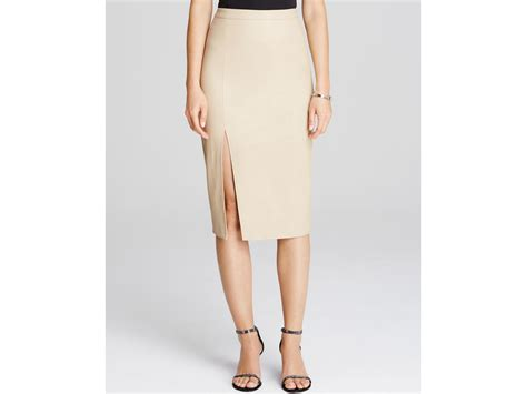 bardot faux leather side slit pencil skirt in lyst