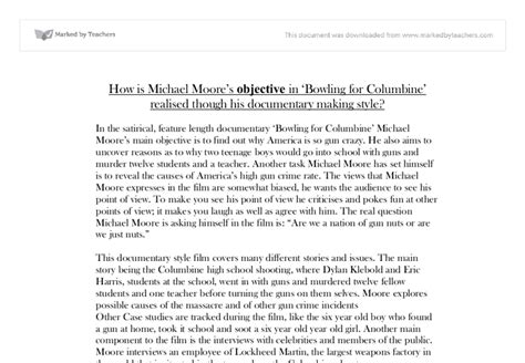 Bowling For Columbine Essay by Bowling For Columbine How Is Michael Tm S Objective In Bowling For Columbine Tm
