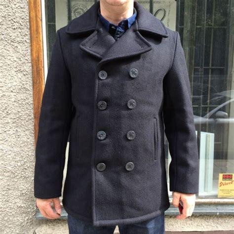 Jaket Pea Coat Navy Original U S A schott classic 32 oz melton wool navy pea coat in the