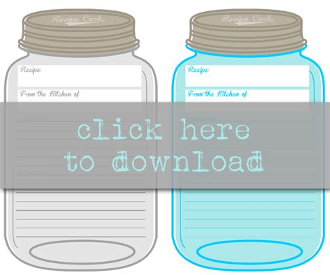 free printable recipe cards gifts jar free printable mason jar recipe cards mason jar recipes